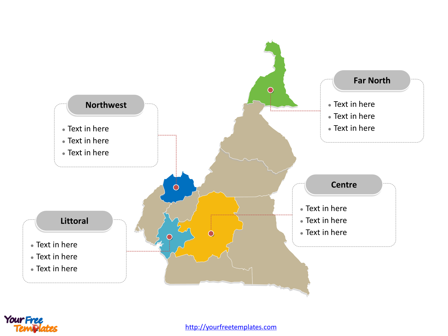 Cameroon map labeled with major political regions