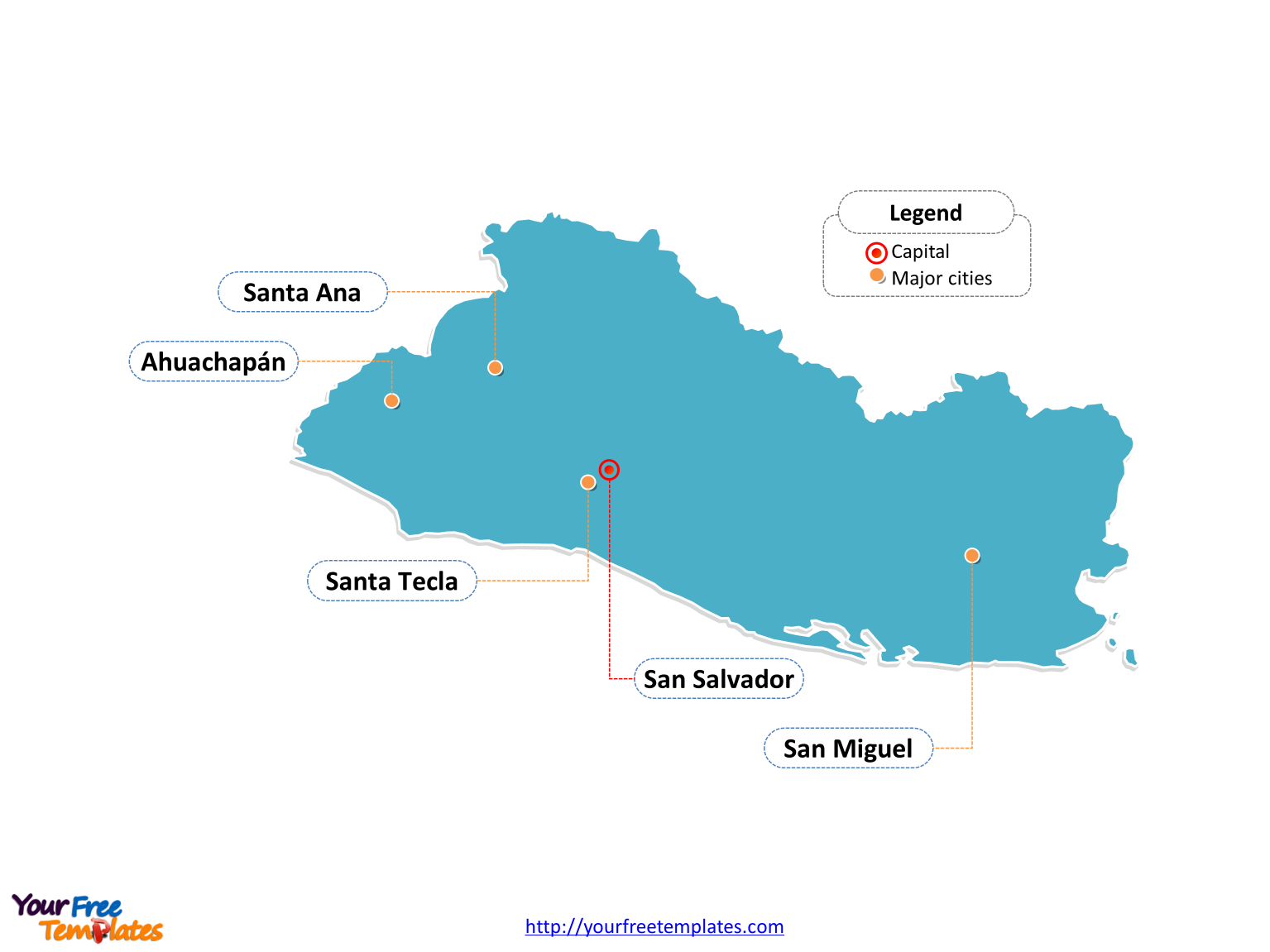 El Salvador map labeled with cities