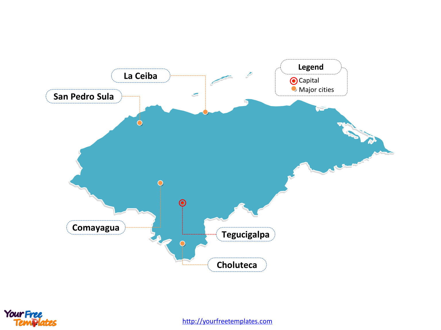 Honduras map labeled with cities