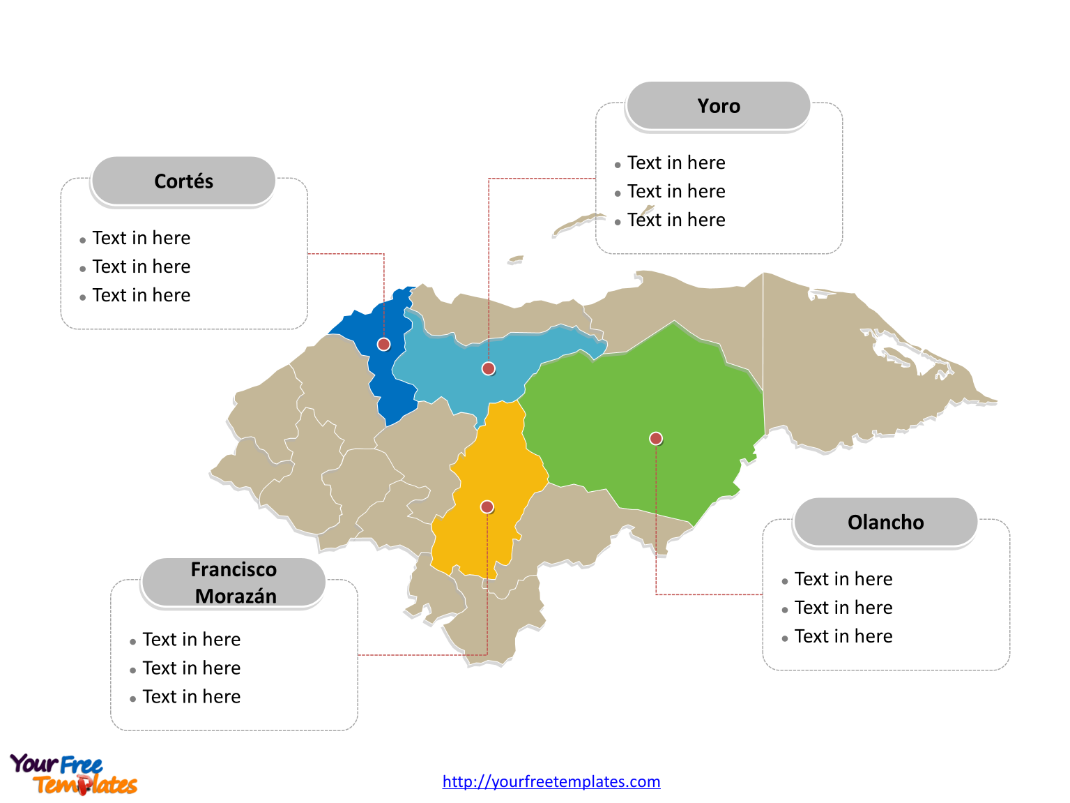 Picture of: Free Honduras Map Template Free Powerpoint Templates