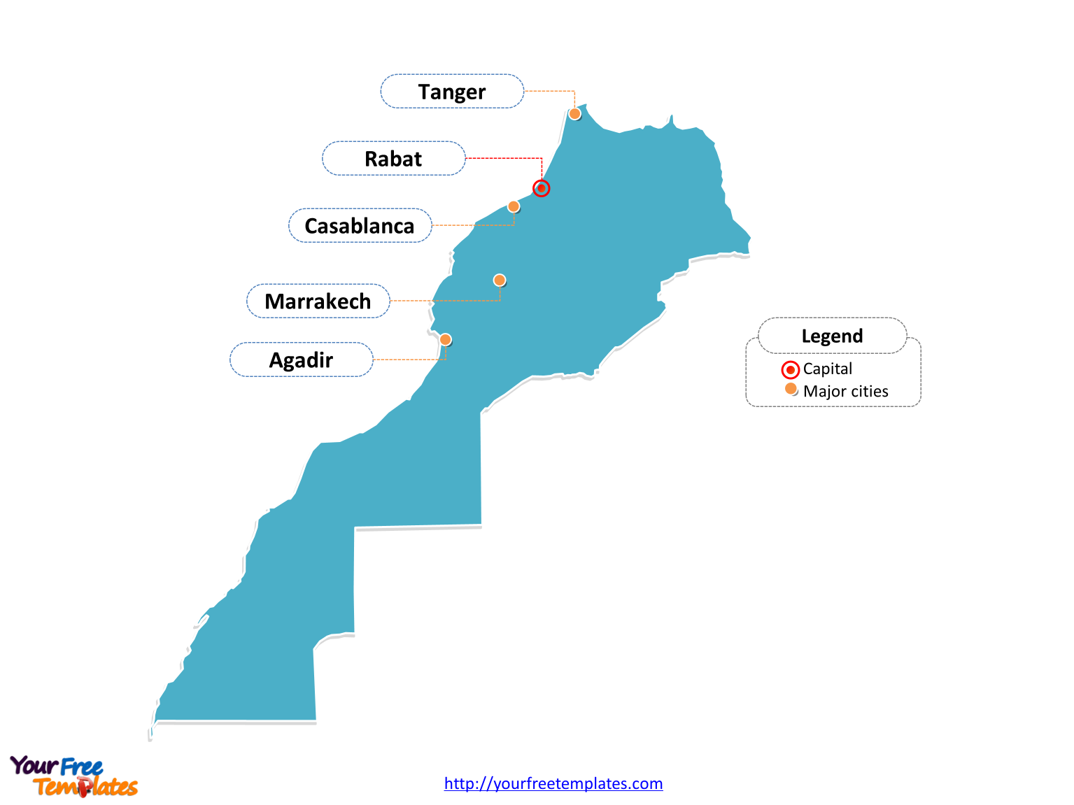 Morocco map labeled with cities