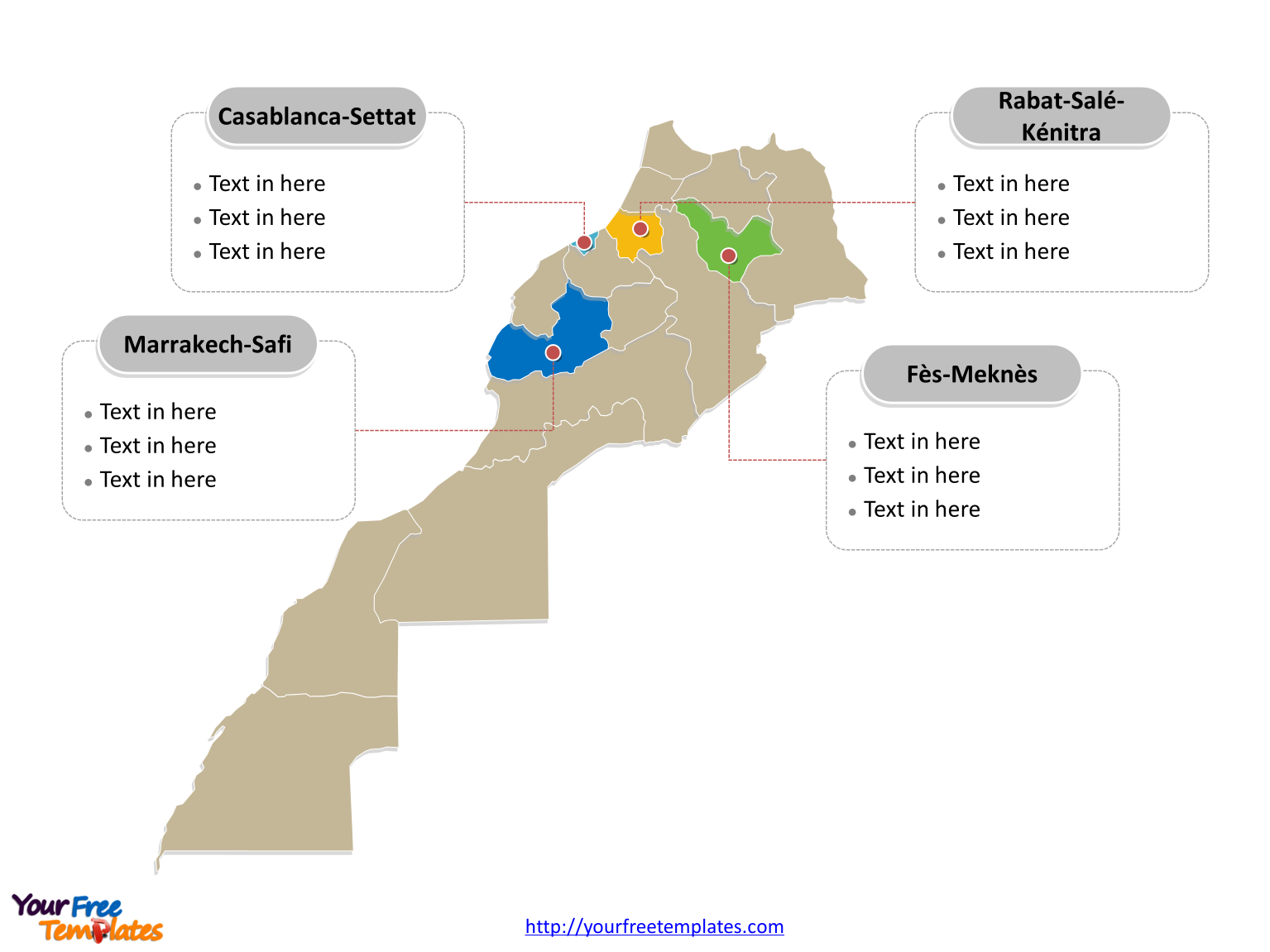 Morocco map labeled with major political regions