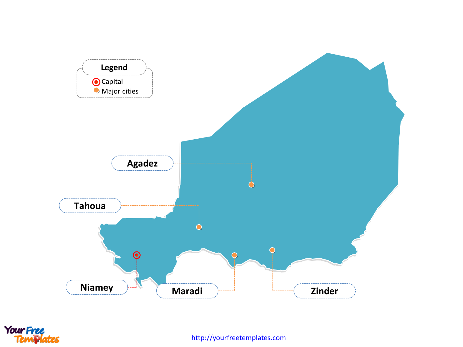 Niger map labeled with cities