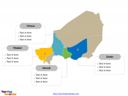 Niger map labeled with major political regions
