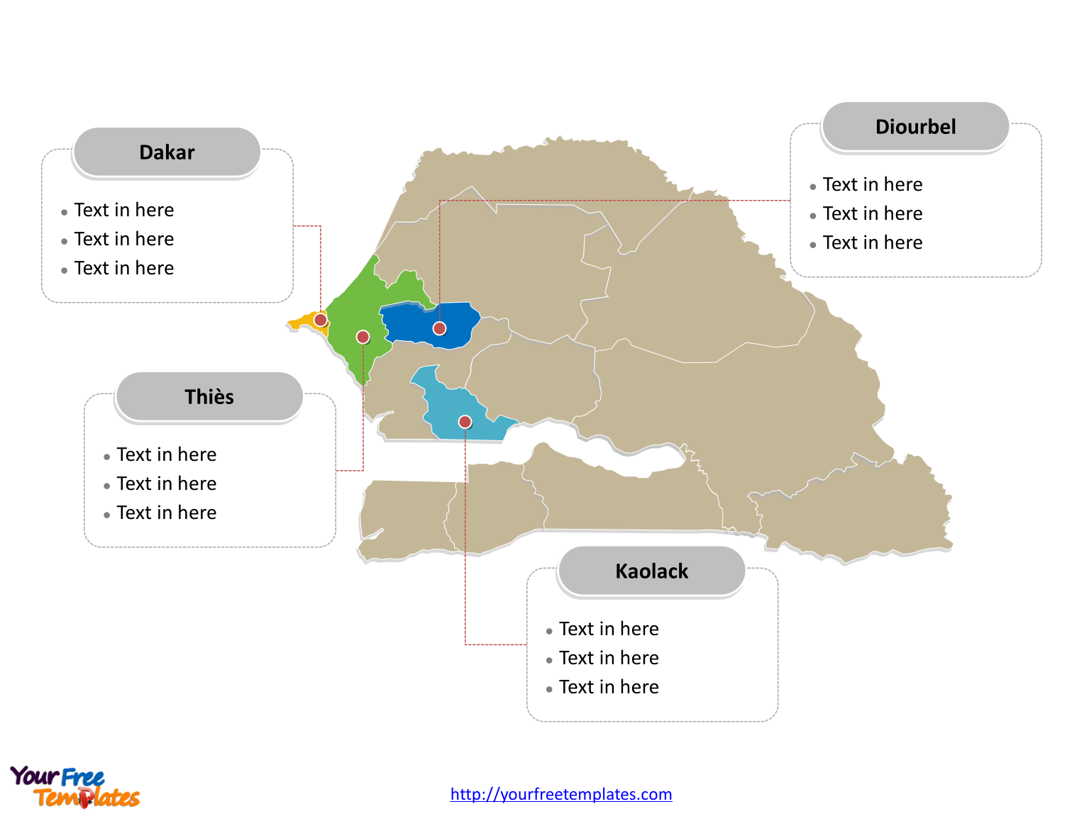 Senegal map labeled with major political regions