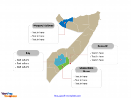 Somalia map labeled with major political Regions
