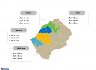 Lesotho map labeled with major political Districts