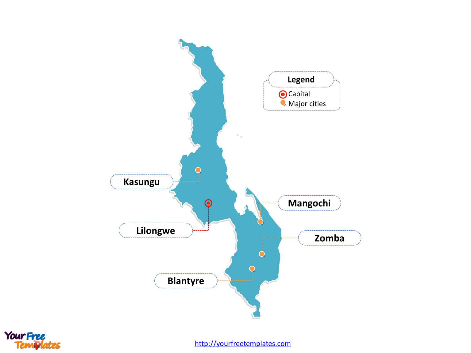 Malawi map labeled with cities