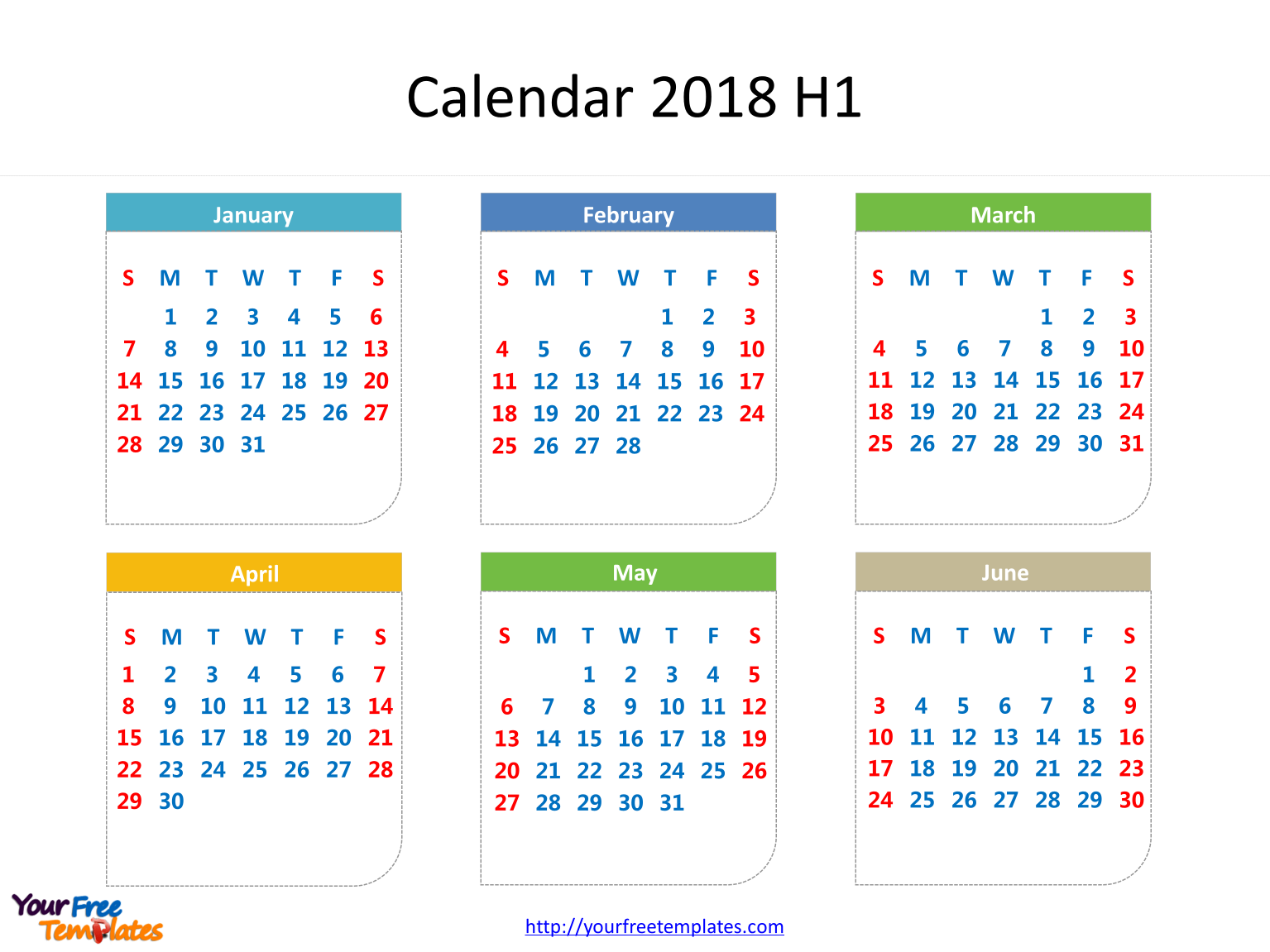 printable calendar 2018 with dates of six months in it