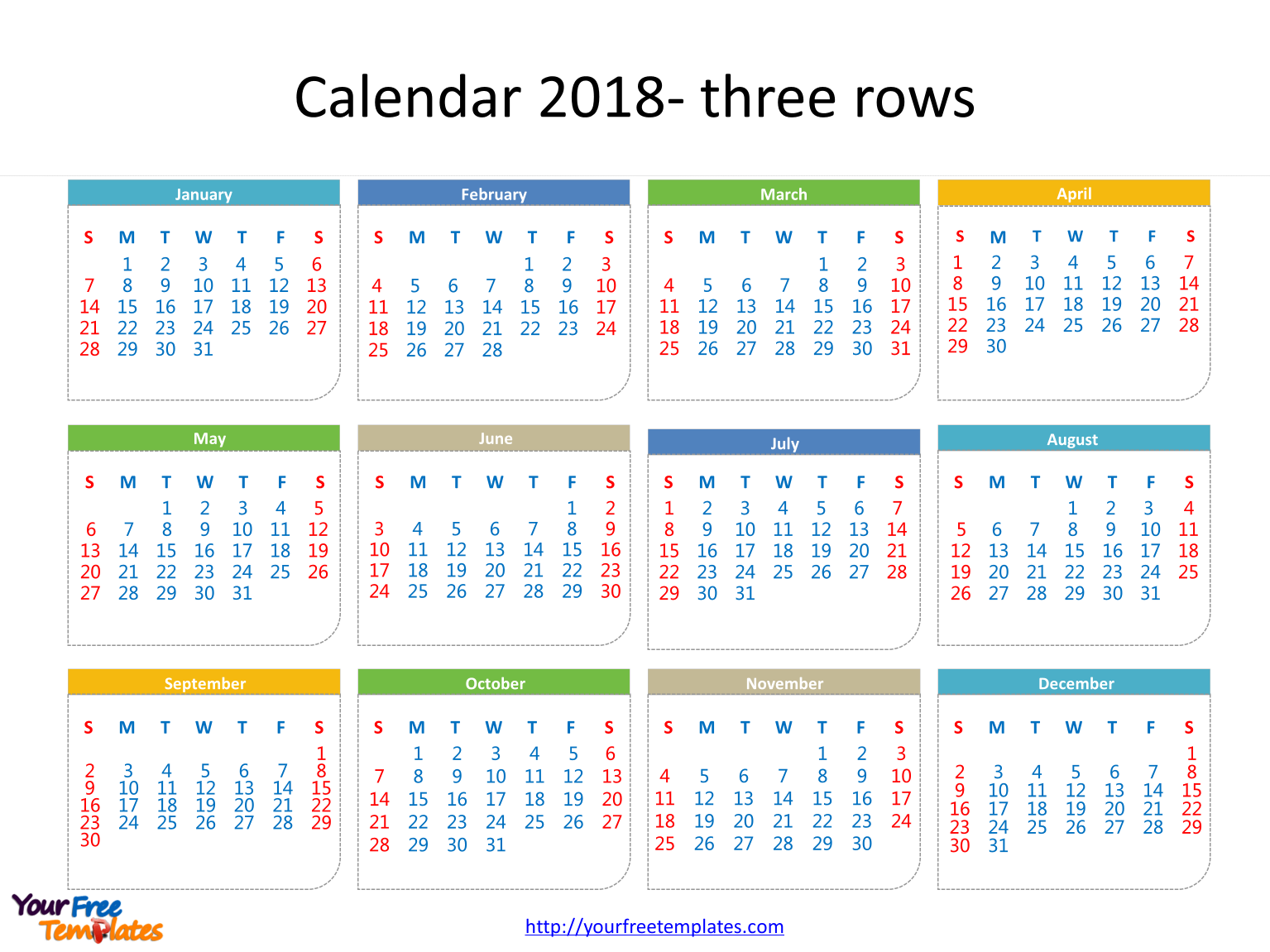 2018 printable calendar with every date in it