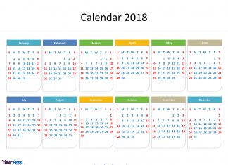 2018 calendar with every date in it