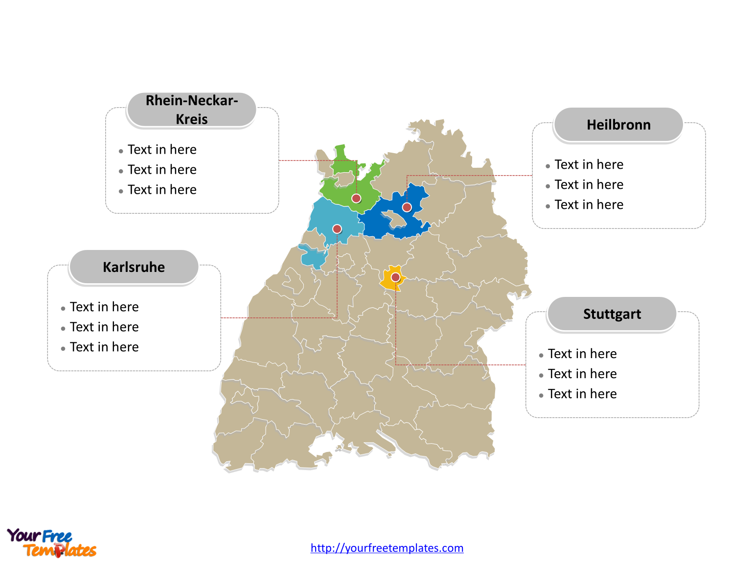 Baden-Württemberg map labeled with major political districts