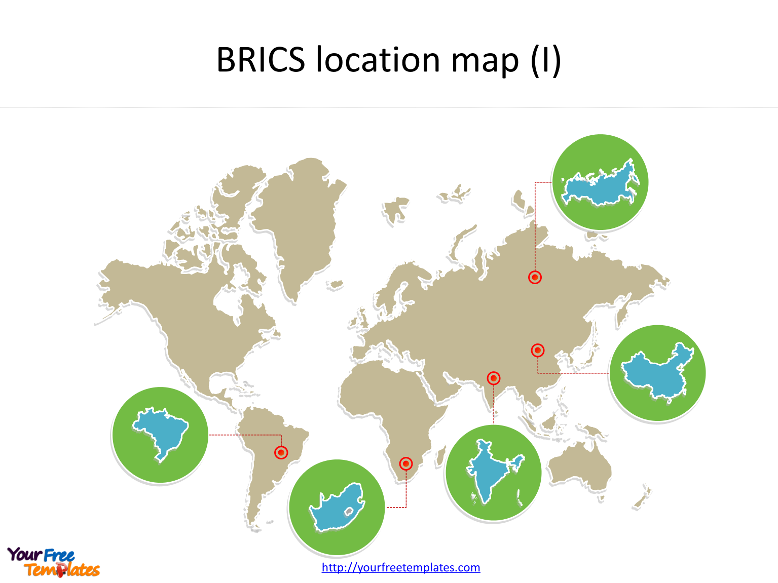 Create maps for BRICS with country outline maps