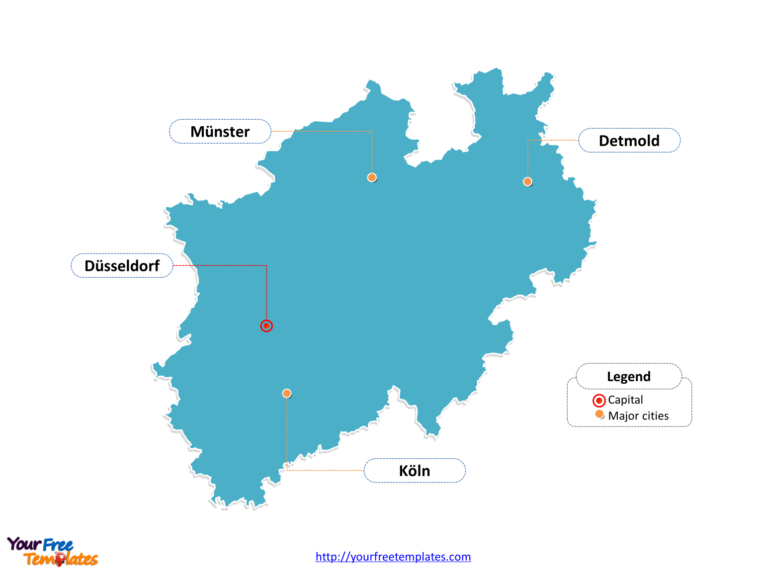 North Rhine-Westphalia map PowerPoint templates labeled with cities