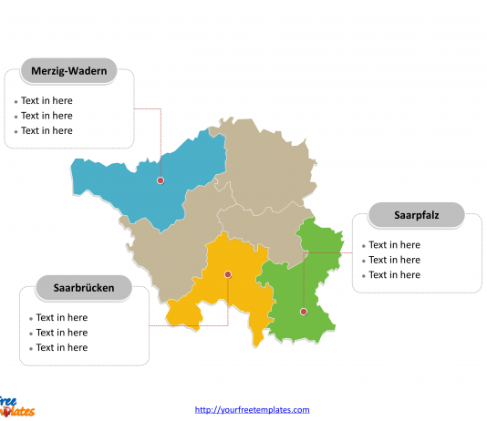 Saarland map labeled with major political districts