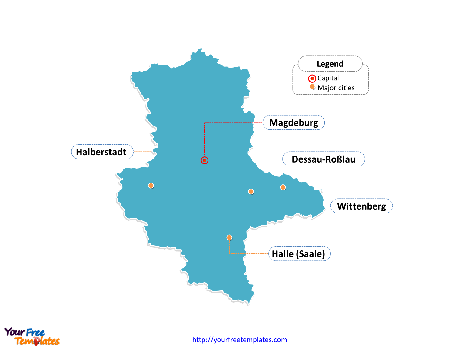 Saxony-Anhalt map labeled with cities