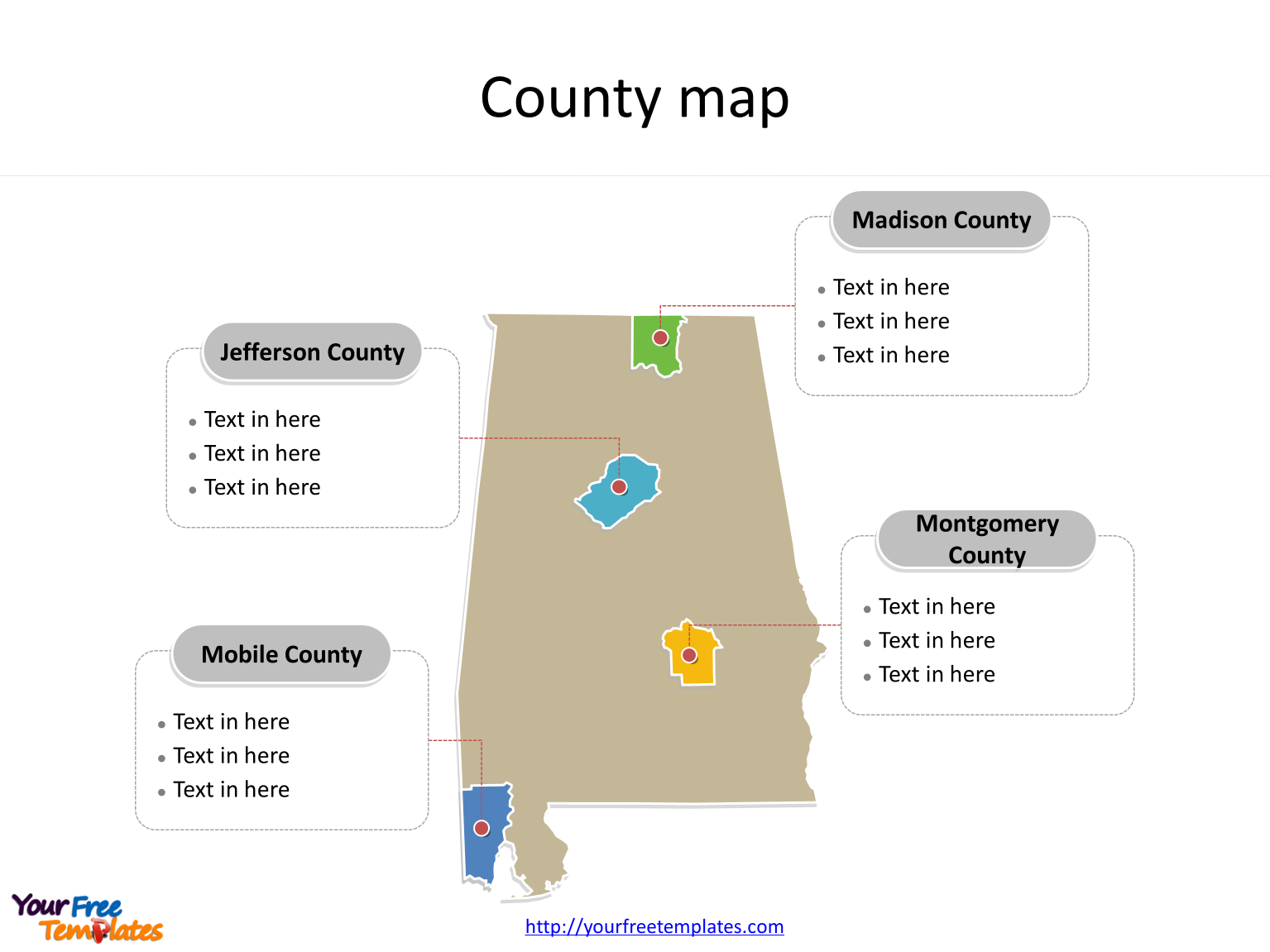 Map of Alabama with major counties labeled on the Alabama maps PowerPoint templates