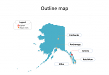 Alaska state map with outline, and Alaska map with cities labeled on the Alaska maps online PowerPoint templates