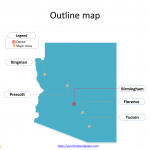 State of Arizona map with outline and cities labeled on the Arizona maps PowerPoint templates
