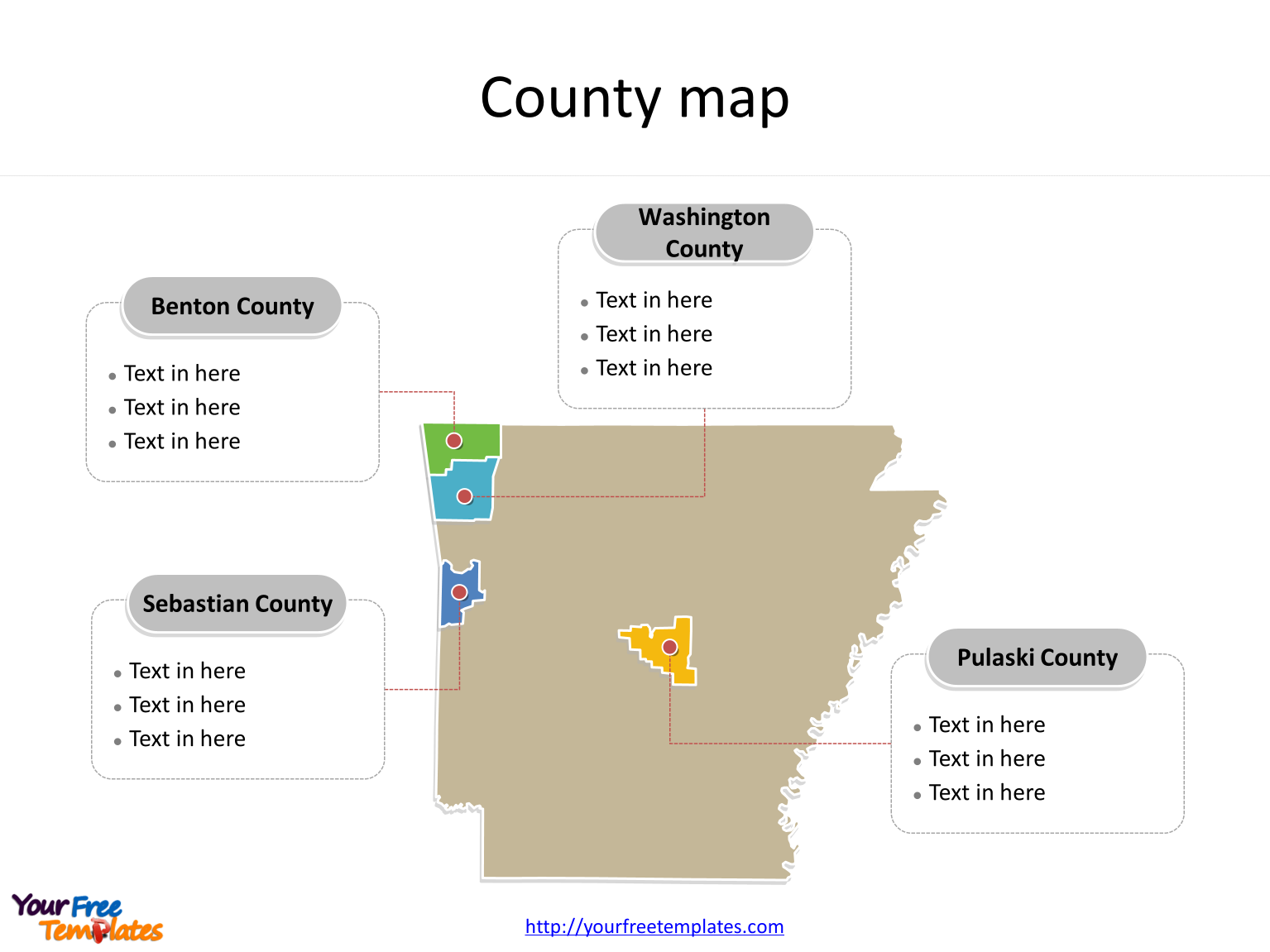 Map of Arkansas with major counties labeled on the Arkansas map free templates