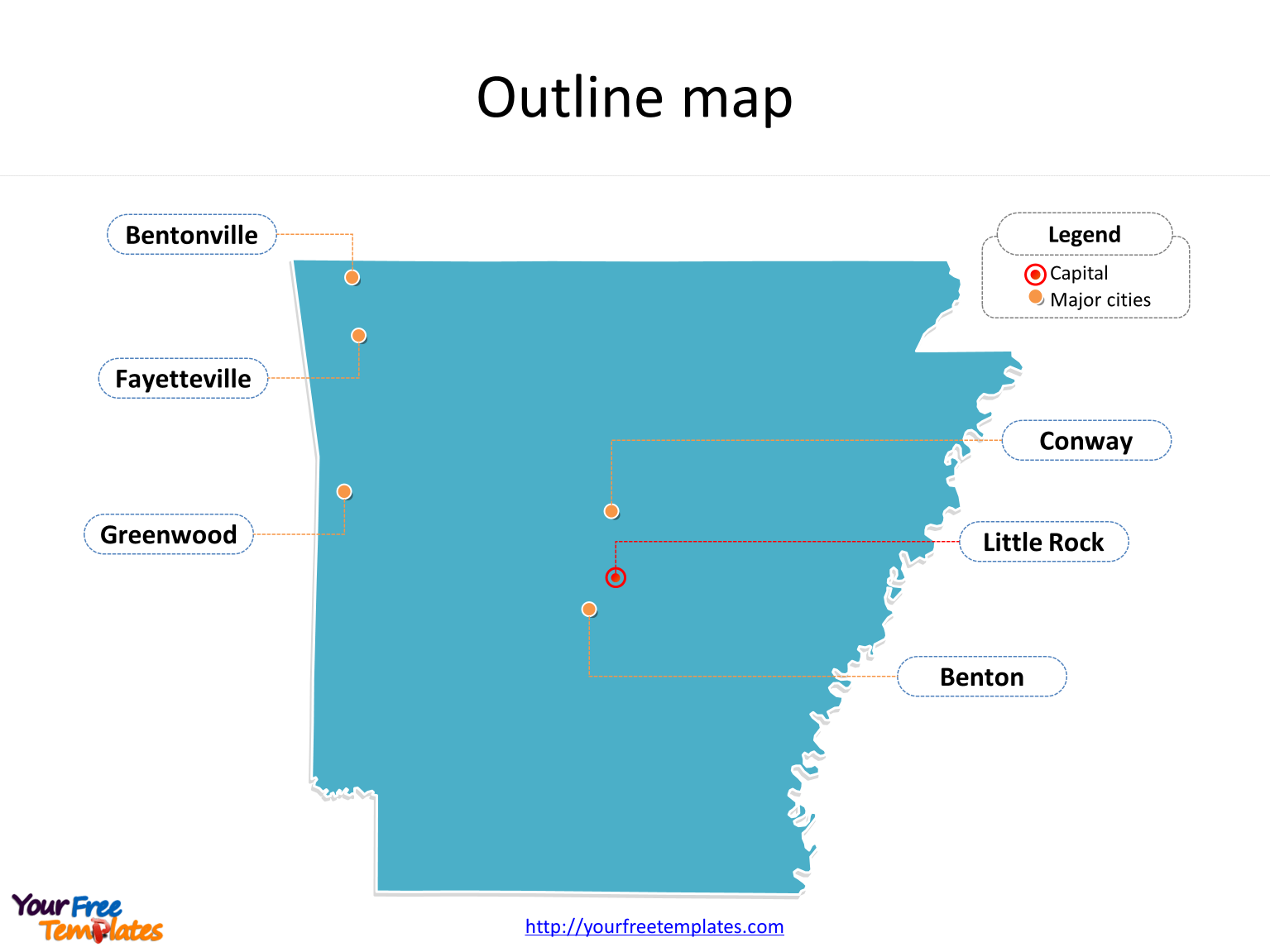 Map of Arkansas with outline and cities labeled on the Arkansas map free templates