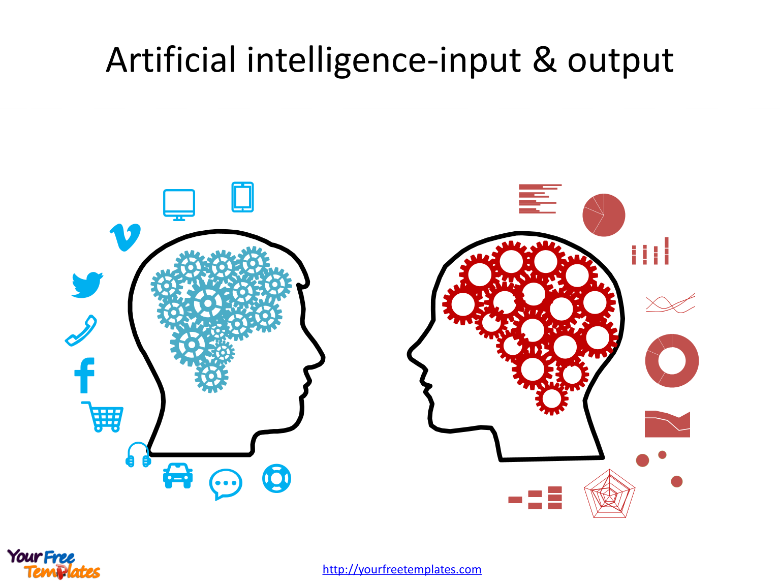 Artificial intelligence PowerPoint templates with gears icons