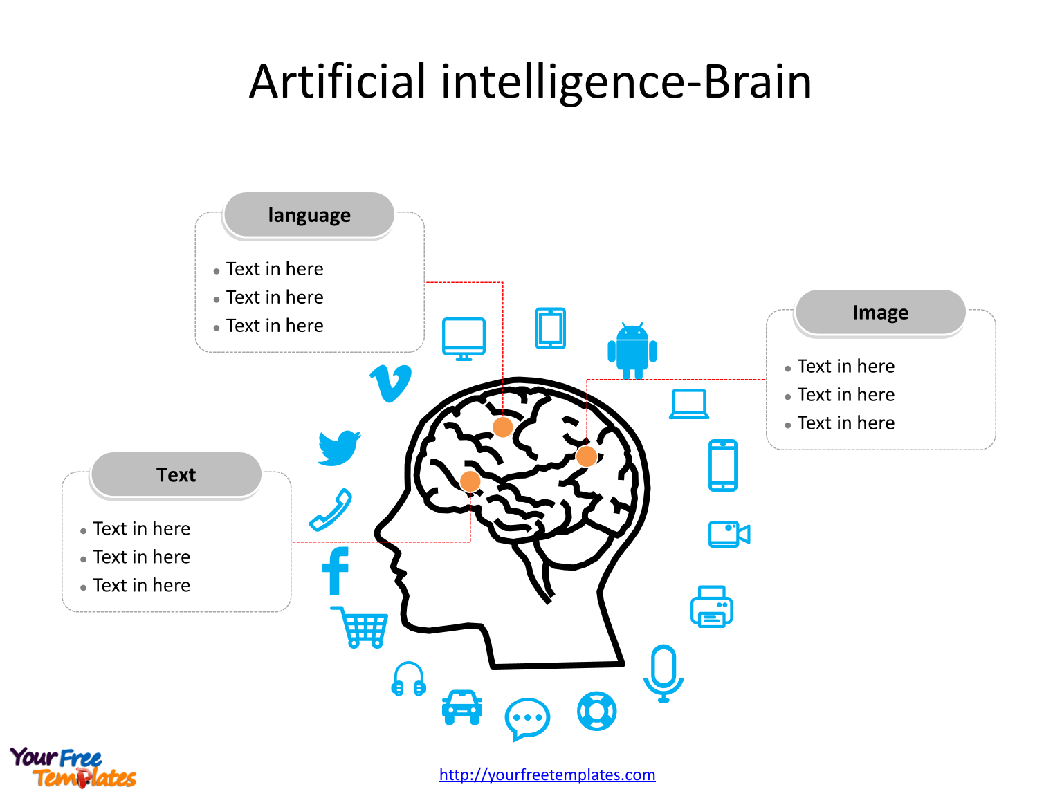 Artificial intelligence PowerPoint templates with various icons