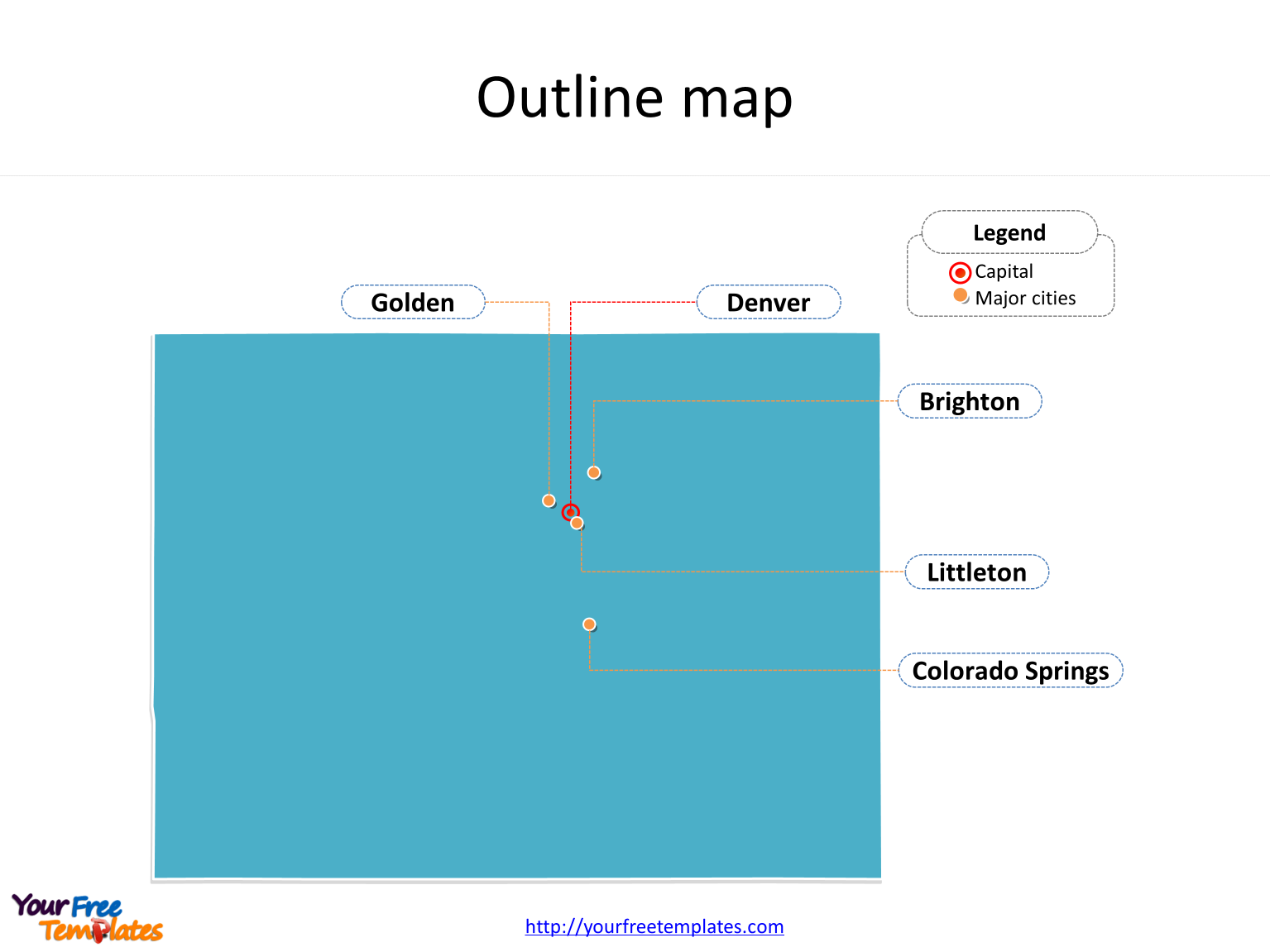 State of Colorado map with outline and cities labeled on the Colorado maps PowerPoint templates