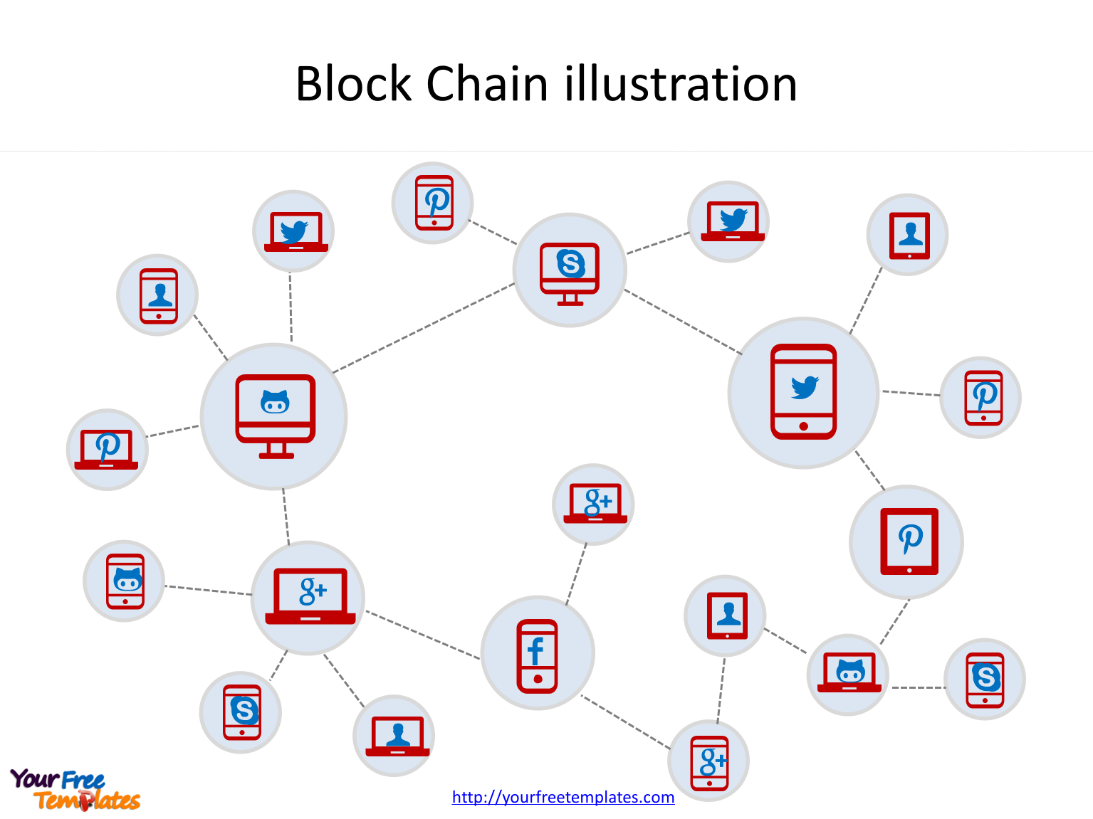 Blockchain technology with vivid illustration to present the distributed network of block chain in PowerPoint templates.