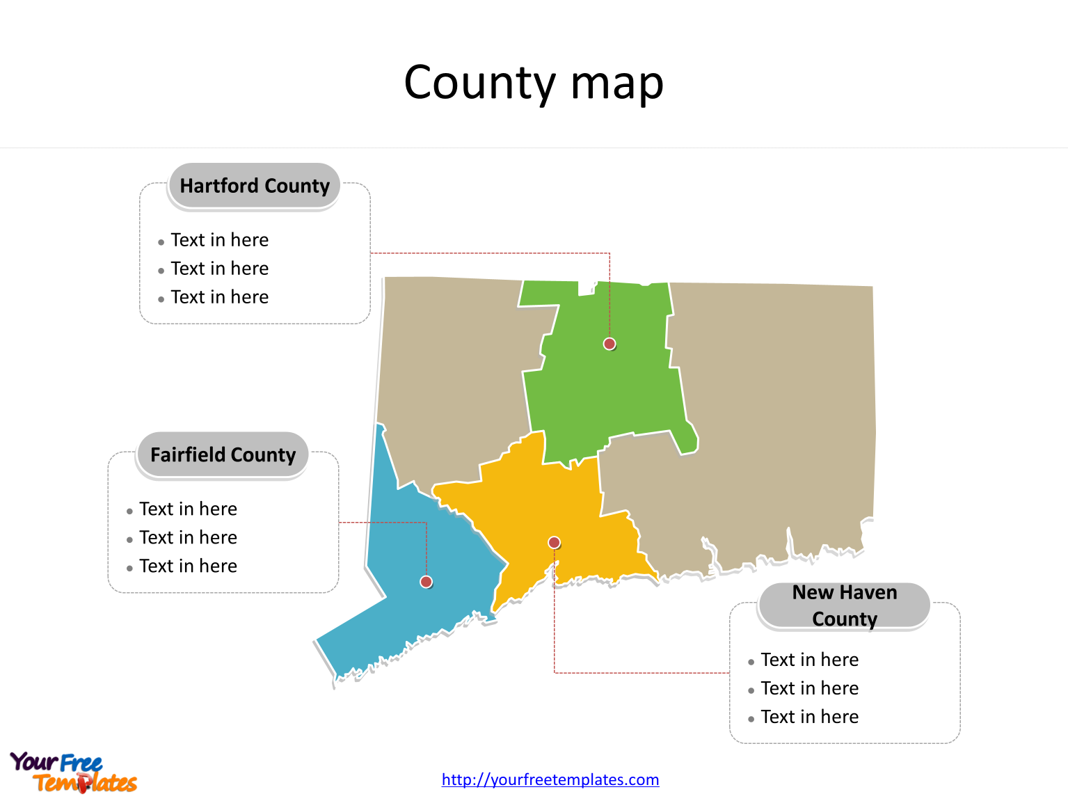 State of Connecticut map with major counties labeled on the Connecticut maps PowerPoint templates