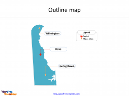 State of Delaware map with outline and cities labeled on the Delaware maps PowerPoint templates