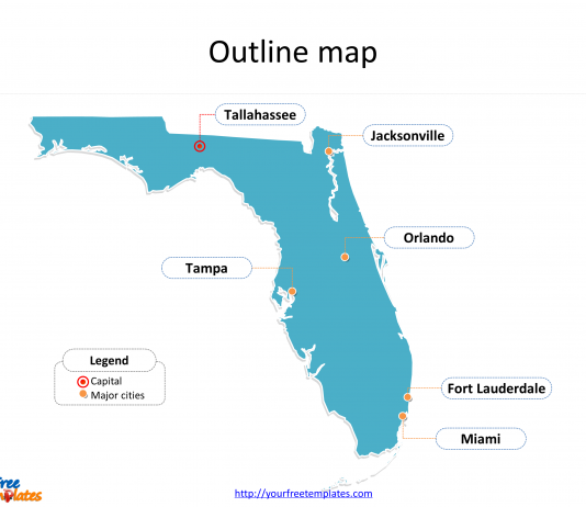State of Florida map with outline and cities labeled on the Florida maps PowerPoint templates