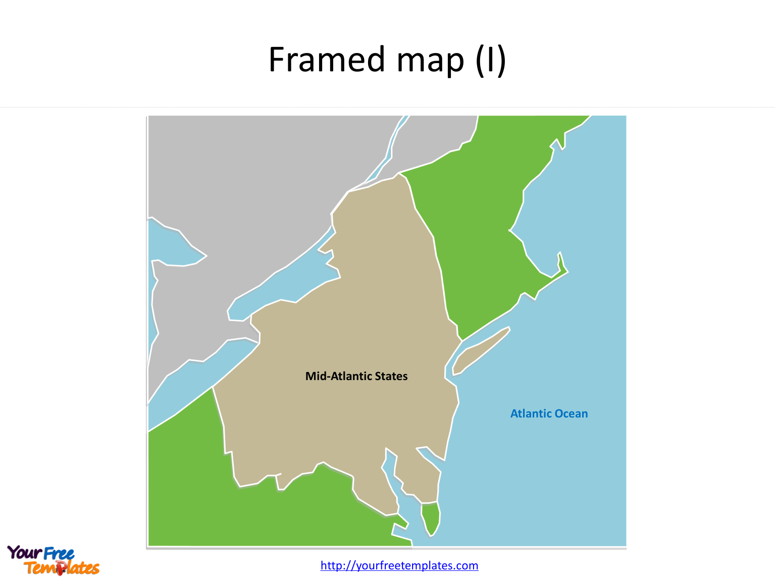 US map Framed Outline map for Mid Atlantic States on the US maps PowerPoint templates