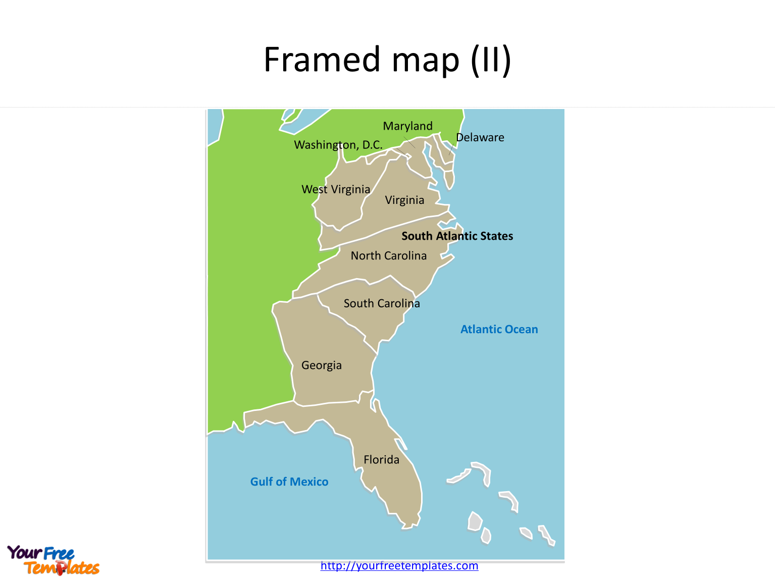 US maps Framed State map for South Atlantic States on the US map PowerPoint templates