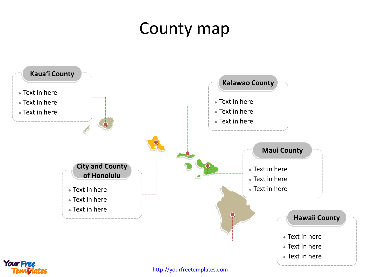 State of Hawaii map with most populated counties labeled on the Hawaii maps Free downloads
