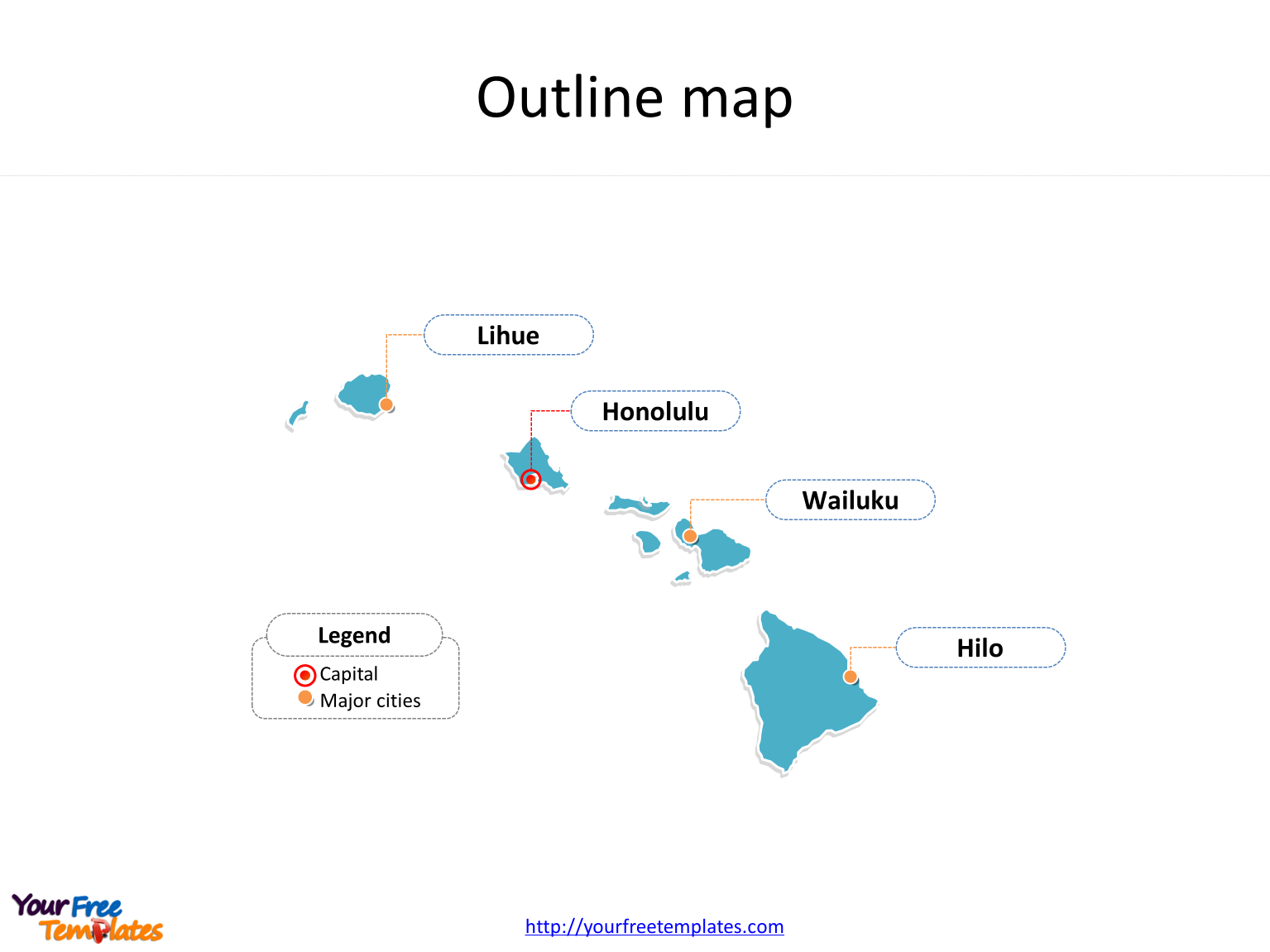State of Hawaii map with outline and cities labeled on the Hawaii maps Free downloads