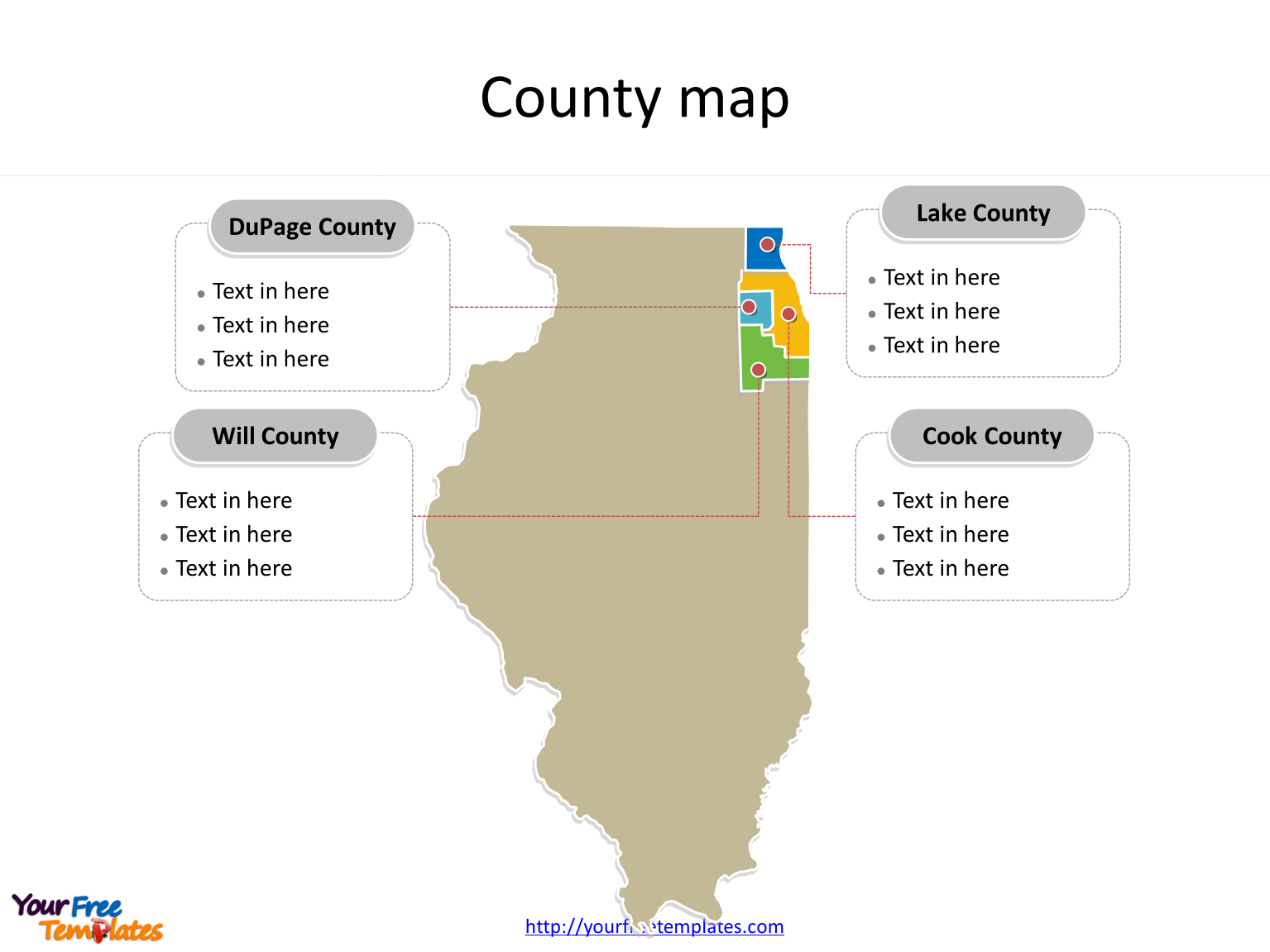 State of Illinois map with most populated counties labeled on the Illinois maps PowerPoint templates