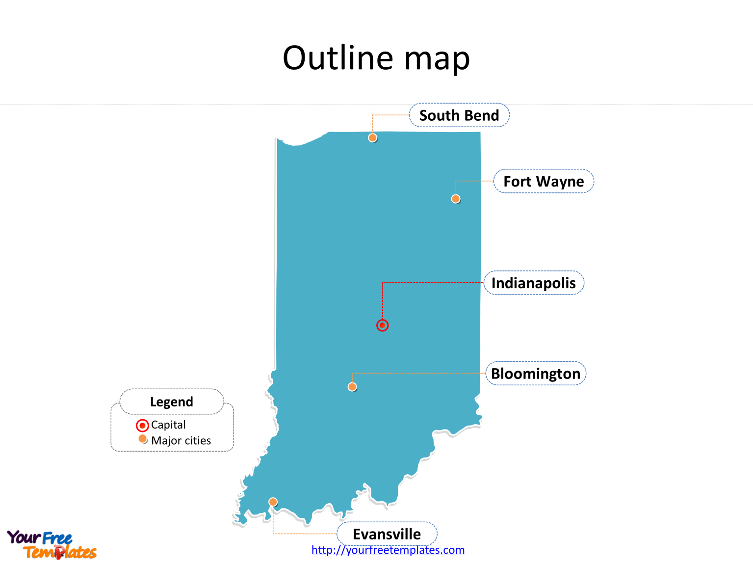 State of Indiana map with outline and cities labeled on the Indiana maps PowerPoint templates