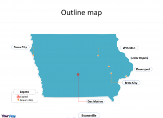 State of Iowa map with outline and cities labeled on the Iowa maps free download