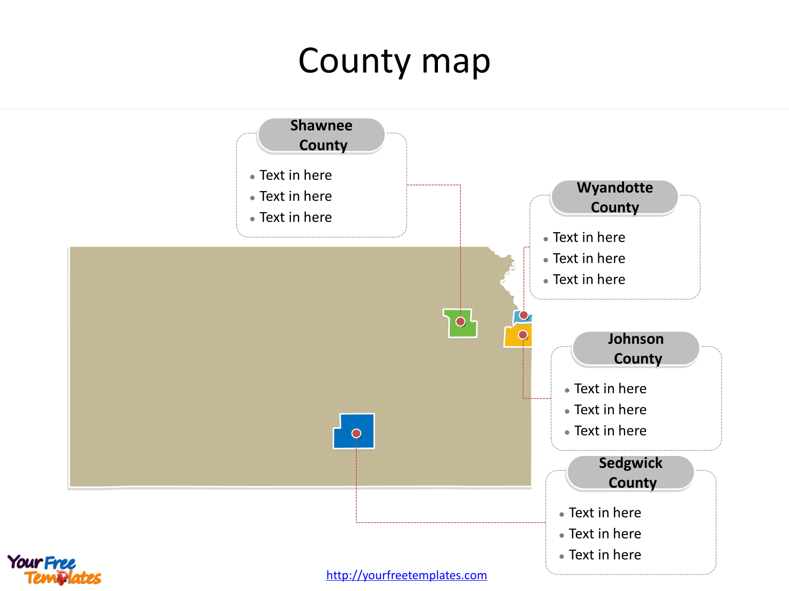 State of Kansas map with most populated counties labeled on the Kansas maps PowerPoint templates