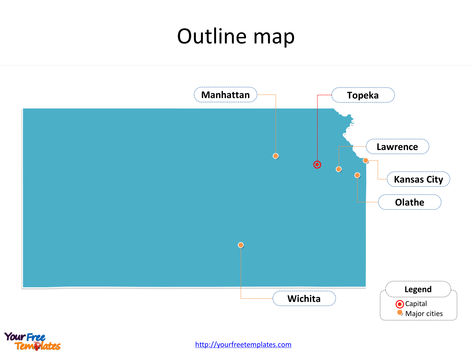State of Kansas map with outline and cities labeled on the Kansas maps PowerPoint templates