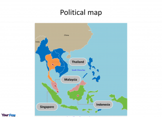 Map of Southeast Asia with individual countries and major Countries labeled on the Southeast Asia map free templates