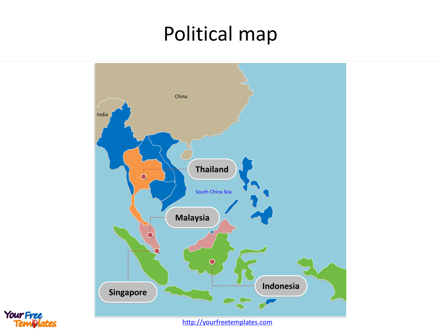 Map of Southeast Asia with individual Southeast Asia map countries and major Countries labeled on the Southeast Asia map free templates