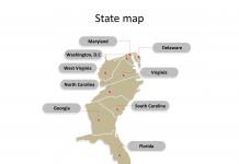 US maps State map for South Atlantic States with state names labeled on the US map PowerPoint templates