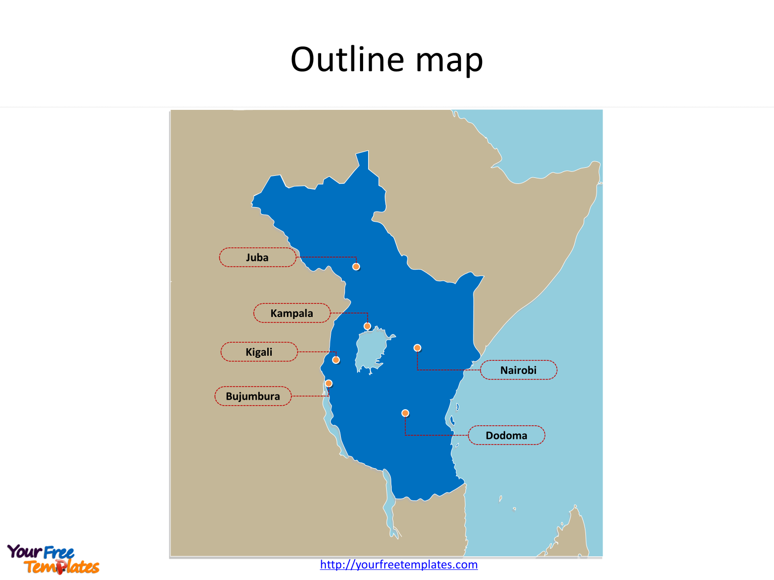Map of East African Community with outline and cities labeled on the East African Community PowerPoint map