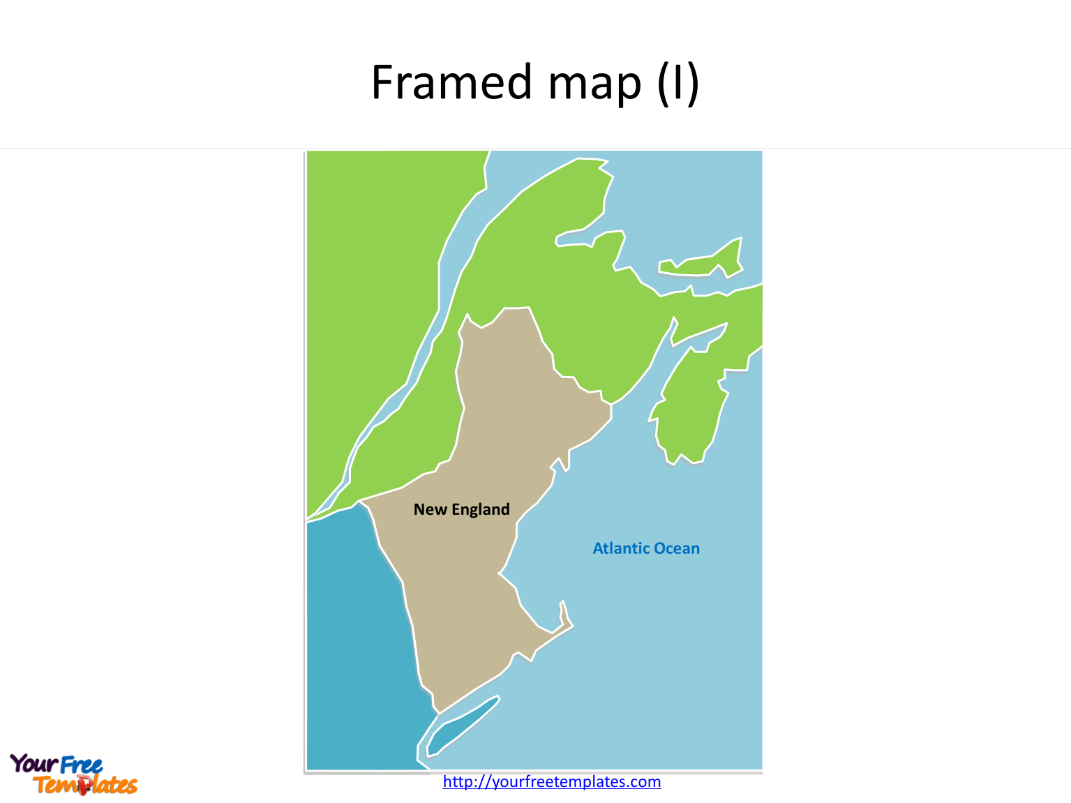 New England Framed Outline map for New England states on the US map PowerPoint templates