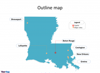 State of Louisiana map with outline and cities labeled on the Louisiana maps PowerPoint templates