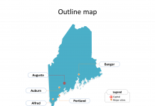 State of Maine map with outline and cities labeled on the Maine maps PowerPoint templates