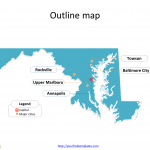 State of Maryland map with outline and cities labeled on the Maryland maps PowerPoint templates