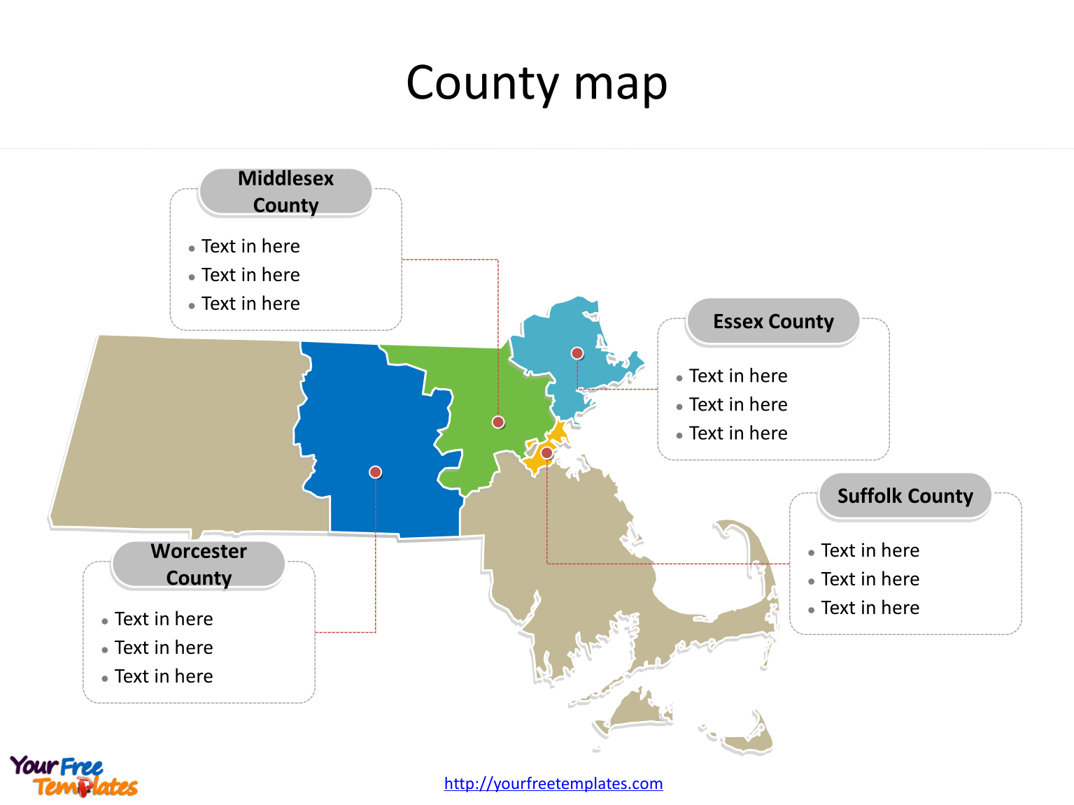 State of Massachusetts map with most populated counties labeled on the Massachusetts maps PowerPoint template